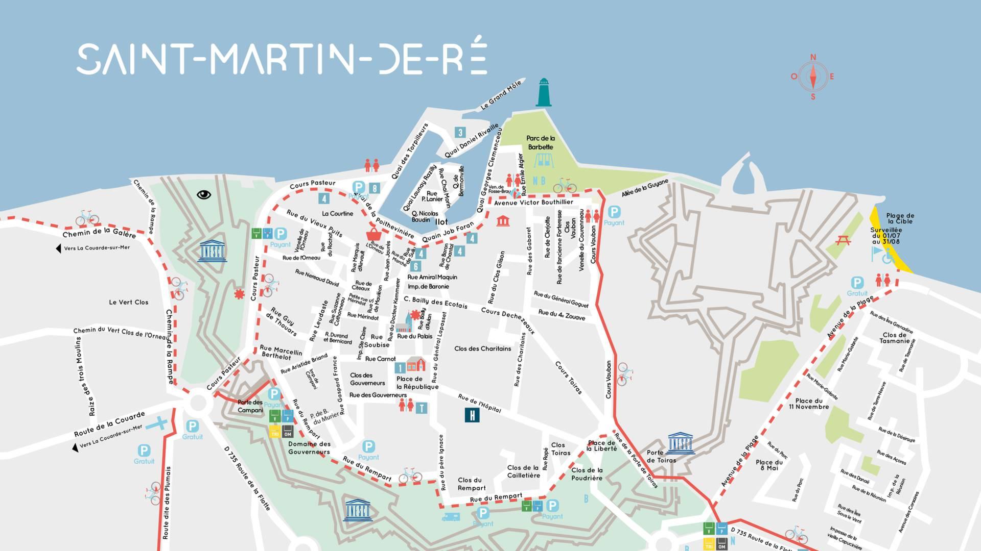 plan île de Ré, village Saint-Martin-de-Ré